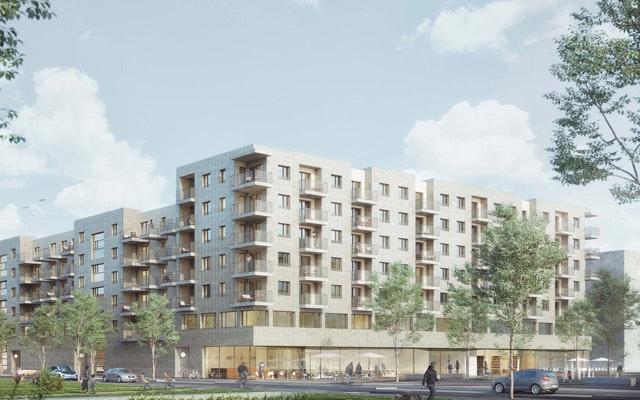 Neubau zweier Gebäudekomplexe sowie Entwicklung eines Quartiersplatzes in Frankfurt am Main