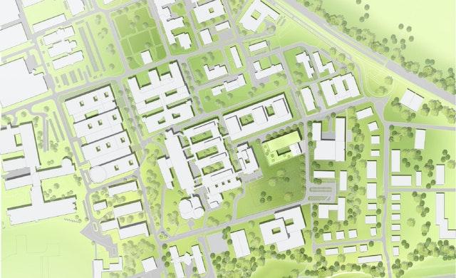 Lageplan des neuen Forschungsgebäudes CARDDIAB in Düsseldorf