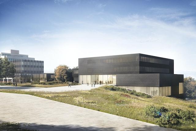 Zwei Neubauten auf dem Gelände der Universität Konstanz – das Hörsaal- und Seminargebäude sowie das Verwaltungsgebäude