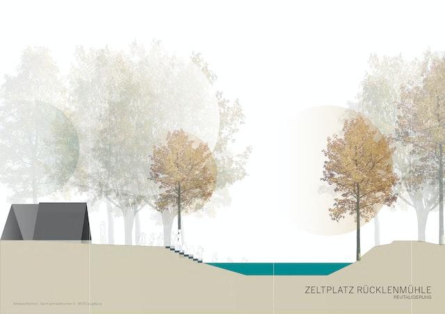 Zeltplatz Rücklenmühle, Sanierung, Teilabbruch- und Neubau eines Selbstversorgerhauses mit Zelthausgruppe-Objektplanungn