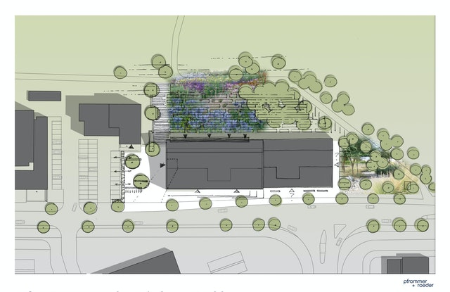 Ein grüner Campus wird als Bindeglied zwischen Hochschule und angrenzendem Landschaftspark entwickelt.