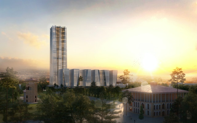 NIGC Headquarter Blick von Saltanat Abad Garten