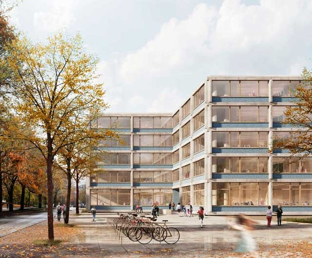 Entwurf einer modularen Grundschule (4-zügig) mit modularer Sporthalle
