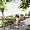 Perspektive 1: Blick in den Park mit Beltwalk (Perspektive Antoine Fourrier)
