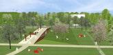 Blick in den Park mit Erdskulptur