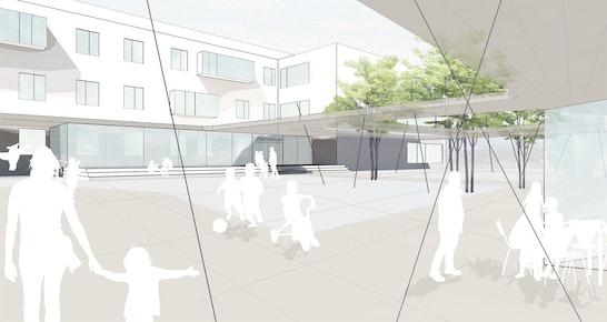 Perspektiv-Skizze neuer Schulhof