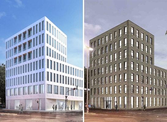 ein 1. Preis: Zwei 1. Preise - links: ap plan mory osterwalder vielmo; rechts: Riehle + Assoziierte Architekten und Stadtplaner
