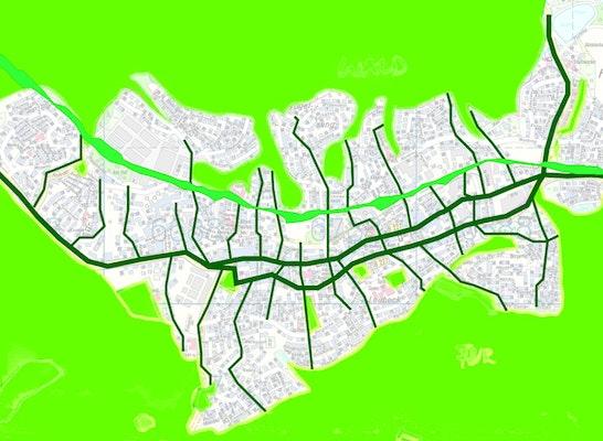 Verzahnung von Landschaft und Stadt mit topographischem Straßensystem und Bahntrasse als Linearpark