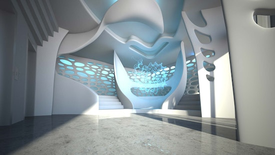 Silver Winner in Interior Space and Exhibition Design Category: Pharmacy Gate 4D -  ABBOTT, PETER STASEK ARCHITECTS Corporate Architecture, LICHT - TEAM OHG, Raum-Konzepte Sabine Kümmel oHG, Molto Luce GmbH, Sound Design For Architecture, Center for 4D Arts New York, madhat GmbH, Pharmacy Gate 4D -  ABBOTT, © Peter Stasek Architects - Corporate Architecture