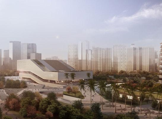 """1. Preis Auftrag: Blick auf das Museum im städtischen Umfeld mit der historischen """"Chigang Pagode"""" als Bezugspunkt im Norden., © gmp · Architekten von Gerkan, Marg und Partner"""