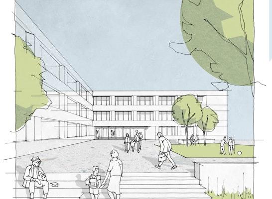 1. Preis: NAK   Blick auf den Vorplatz, © NAK Architekten
