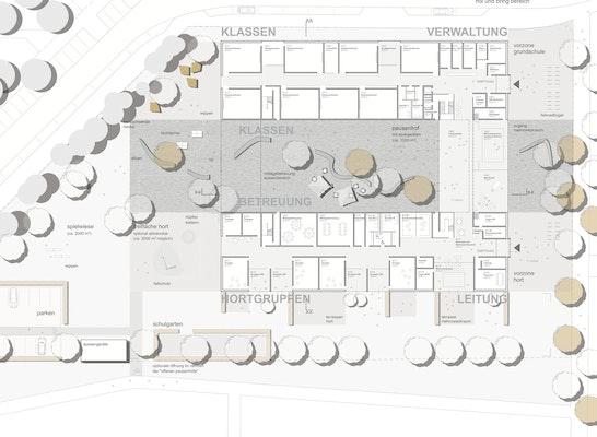 Grundschule mit Hort Grundriss EG und Außenanlagen