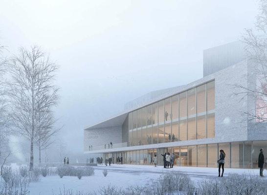 Ackermann + Renner Architekten GmbH - Blick über den Vorplatz zum Haupteingang