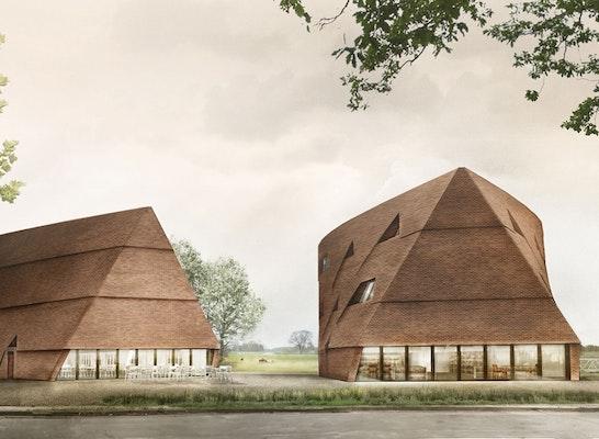 1. Preis Zuschlag: Eingangssituation Kirchenheerweg - mit Vorplatz, Mensa und Bibliothek