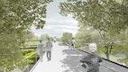 Blick vom ParkLoop auf die Wasserflächen und Themengärten