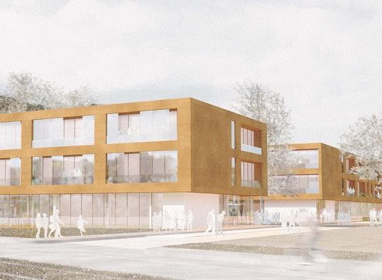 Evangelische Montessorischule Freiburg, 3D Wettbewerbsperspektive: Matthias Link, Digitale Architektur, Freiburg; Architektur: Hotz Architekten, Freiburg