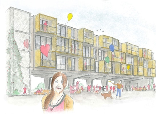 Gewinner: Perspektive I Blick auf Gebäude während Nichtnutzung Parkplatz außerhalb der Öffnungszeiten Einzelhandel