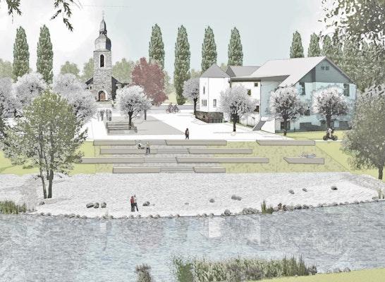 Gewinner Zur Realisierung empfohlen: Blick auf das Ensemble Rastatt und Kirche, © wbp Landschaftsarchitekten GmbH