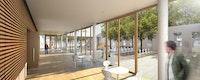 Blick vom Foyer in den Stadtteilgarten, ©  ksw architekten + stadtplaner bda dw,  bchora blau Landschaftsarchitektur