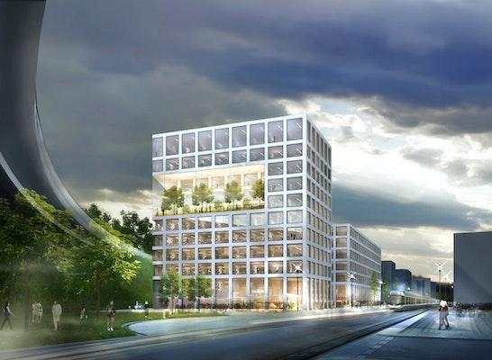 Auftakt des Quartiers mit drei Bürogebäuden des Baufeldes C1