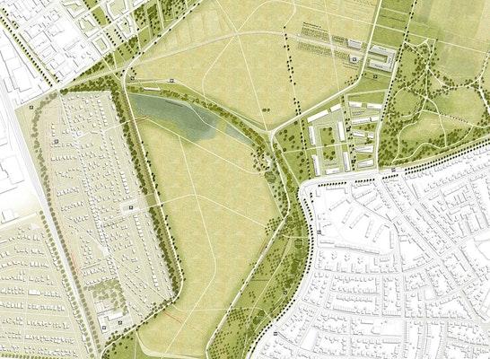 1. Rang freiraumplanerischer Teil - Zuschlag: Lageplan Daueranlage, © RMP Stephan Lenzen Landschaftsarchitekten und Fischer Architekten