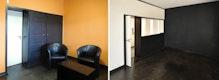 ehemaliges Speisezimmer Kandinsky, vor (links) und nach der Sanierung (rechts)