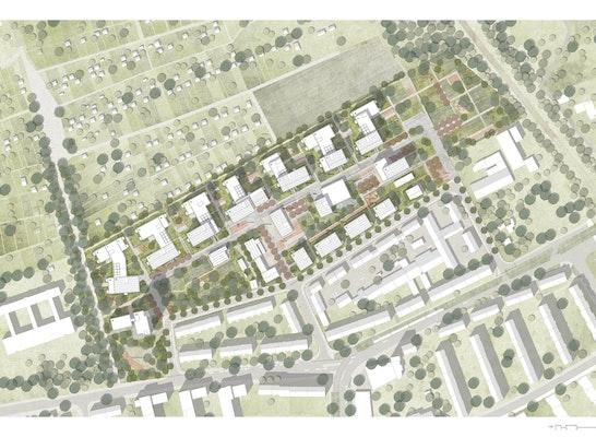 1. Preis: Quartier an der Boeckingerstrasse - Lageplan, © Hild und K / Studio Vulkan