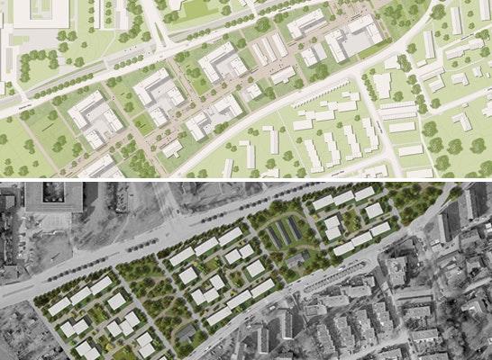 1. Preis Nach Überarbeitung: Zwei 2. Preise (kein 1. Preis) - oben: UmbauStadt; unten: KAWAHARA KRAUSE ARCHITECTS