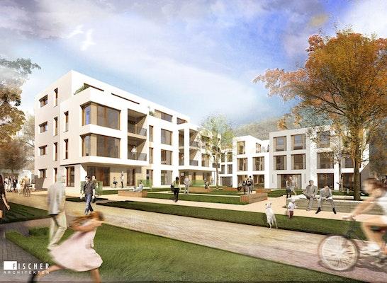 1. Preis Zuschlag für drei von fünf Baufeldern: Perspektive Hof, © Fischer Architekten