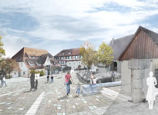 ein 1. Preis: Blick in den Schlosshof - multifunktionale Platzfläche mit Aufenthaltsqualität, © BHM Planungsgesellschaft mbH / Visualisierung: die-grille