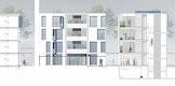 Schnitt Wohnbereich | Ansicht Wohnbereich | Schnitt Treppenhaus/Freibereiche