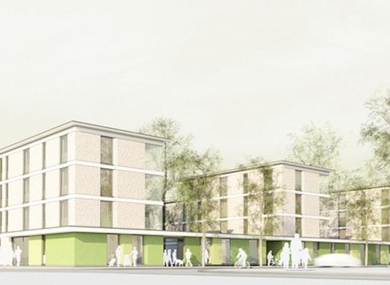 Wettbewerbsperspektive Carl-Sieder-Weg; Visualisierung: Matthias Link, Digitale Architektur, Freiburg