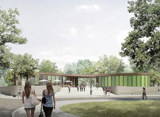 Visualisierung Stadtbad Nauen / Blick Bredowerweg