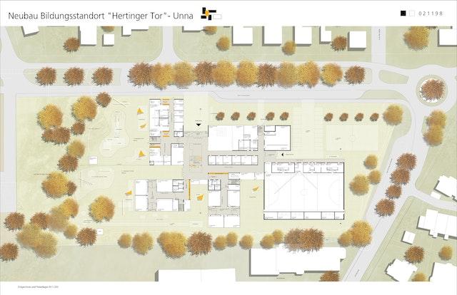 Neubau Bildungsstandort Hertinger Tor in Unna – 3-zügige Grundschule mit Sporthalle sowie 4-gruppige KiTa als Familienzentrum