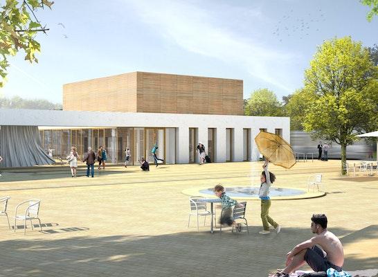 Blick vom Stöckener Markt zum Stadtteilzentrum, ©  ksw architekten + stadtplaner bda dwb, chora blau Landschaftsarchitektur