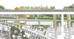 Oben:Schnittpiktogramm: Campusachse; Unten: Bahnhofsvorplatz und Erdgeschoß Park & Ride mit / ohne Unterführung Brüc
