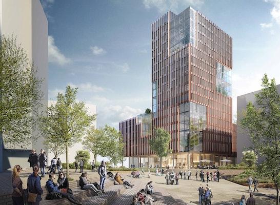 1. Rang: EDGE ElbSide Platzansicht, © Behnisch Architekten