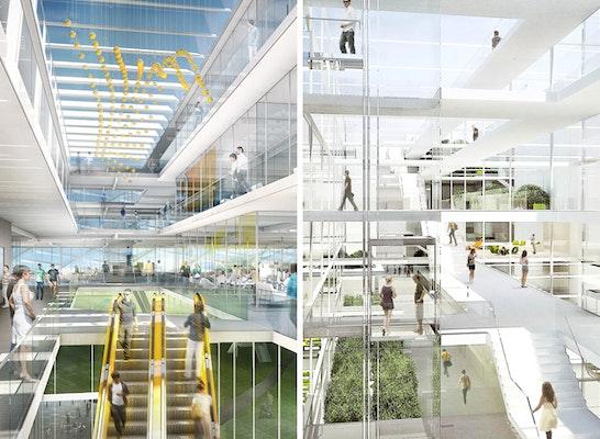 ein 1. Preis Office Southeast: links Zuschlag Office SOUTHEAST: Behnisch Architekten; rechts Zuschlag Office WEST: caramel architekten
