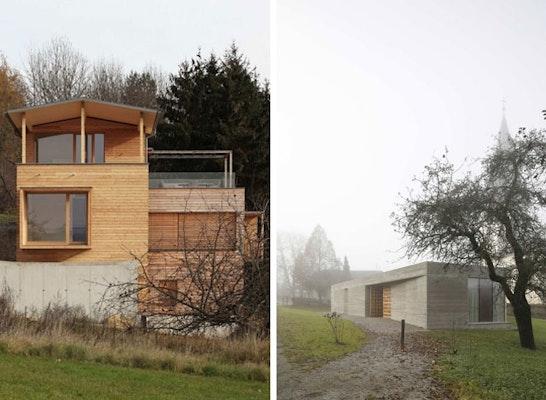 Anerkennung: Die zwei Anerkennungspreise: Holzturm Rohrmoser (links), Pfarrzentrum Glanhofen (rechts)