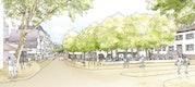 Blick von Süden auf die Gablenberger Hauptstraße mit Bushaltestelle und Übergang zum Schmalzmarkt