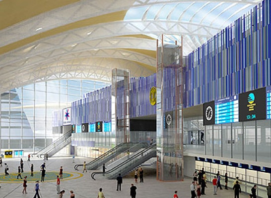 Astana Railway Station, Kazakhstan; Station Hall Interior View © 2011 atelier4d