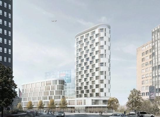 1. Preis: Perspektive Sichtachse am Seestern, © Lengfeld & Wilisch Architekten PartG mbB