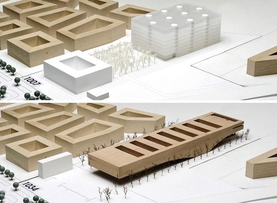 ein 1. Preis: Zwei 1. Preise - oben: MOA – Miebach, Oberholzer Architekten; unten: Oberst & Kohlmayer