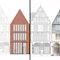 Zwei 2. Preise Parzelle Markt 7:  links Helmut Riemann Architekten GmbH, Lübeck (DE),  rechts dreibund architekten ballerstedt | helms | koblank BDA, Bochum (DE)