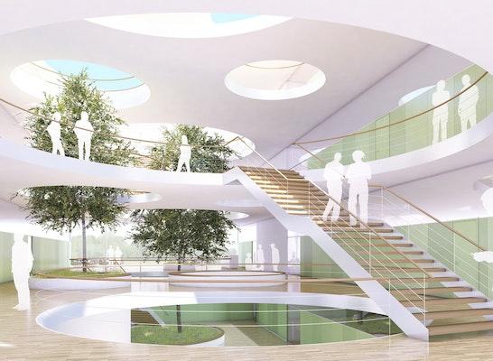 Wettbewerb Julius Kühn Institut Dossenheim 1. Preis, Hotz Architekten Freiburg; Wettbewerbsperspektive / Visualisierung: L!NK 3D