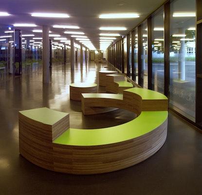 Sitzmodule, 2017, Multiplex, Linoleum,  Marie-Curie-Gymnasium, Dresden