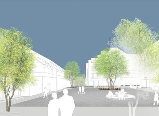 1. Preis: Perspektive Rathausplatz, © exedra Müller & Jansen Landschaftsarchitekten