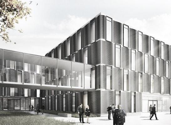 Eingangsfassade eines der neuen Gebäude für chemische Energiekonversion