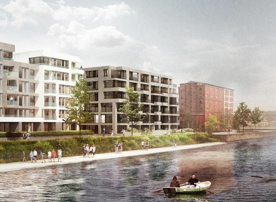 """Blick über den Berlin-Spandauer Schifffahrtskanal auf das """"Haus am Wasser""""; léonwohlhage Architekten; Visualisierung: bloom images"""