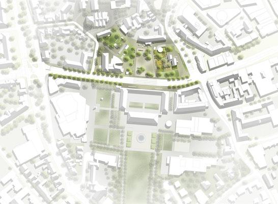 1. Preis: Lageplan Ledenhof und Neuer Graben, © bbz landschaftsarchitekten